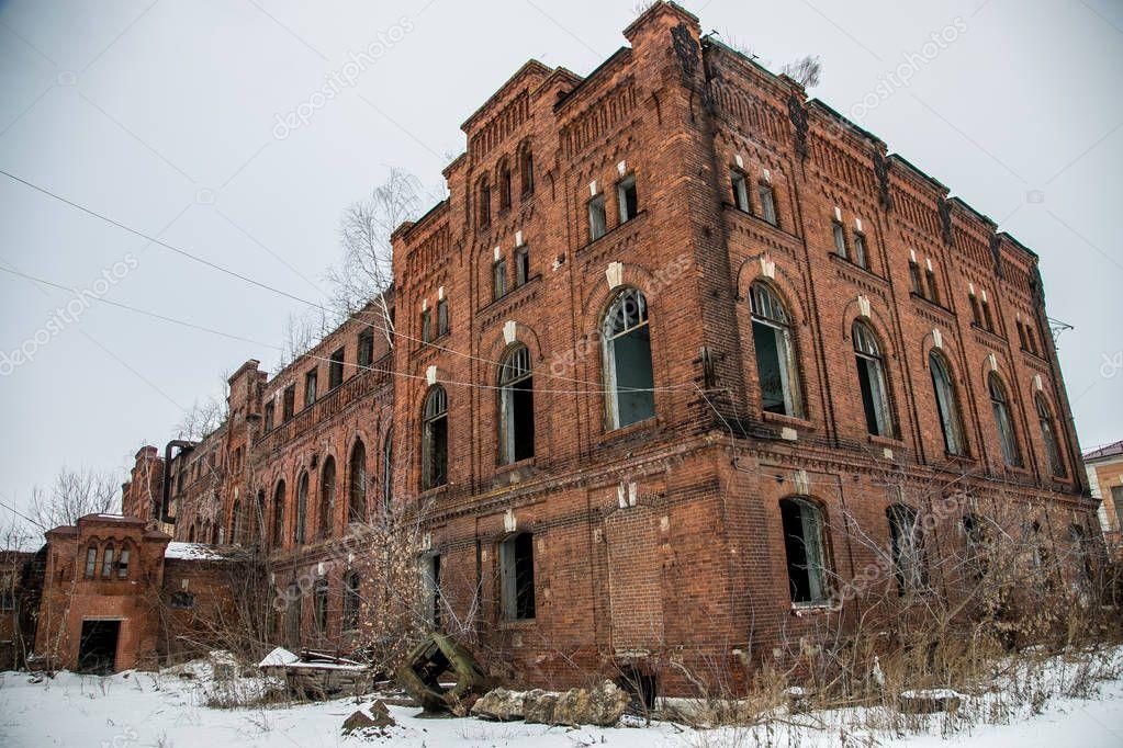 Abandoned industrial building of red brick ryazhsky