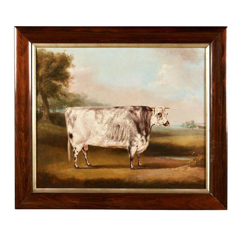 W H Davis English Cow Painting On Canvas Circa 1857 At 1stdibs Cow Paintings On Canvas Cow Painting Painting