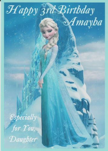 DISNEY FROZEN ELSA 3D Handmade Personalised Birthday Card