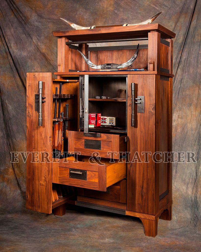 Gun safe gun cabinet walnut armoire strong box steel