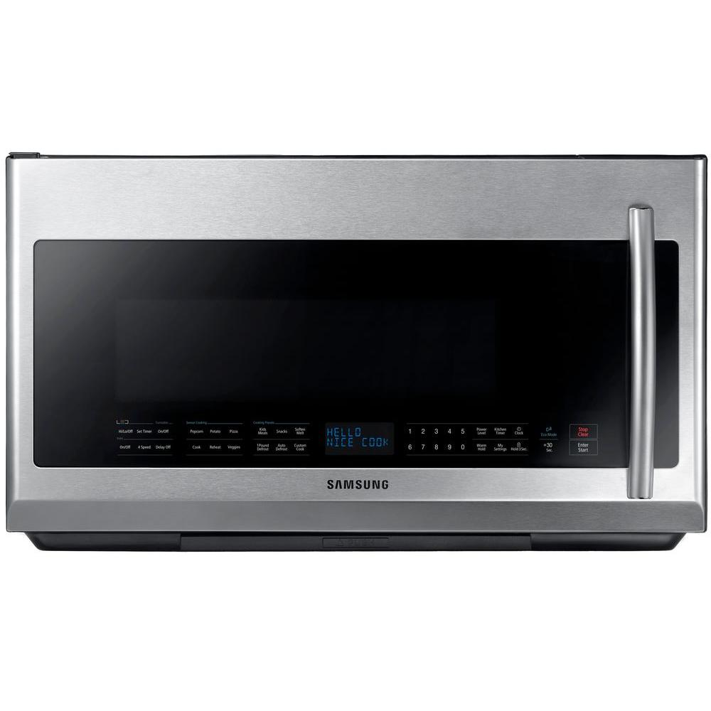 Samsung 30 In 2 1 Cu Ft Over The Range Microwave In Stainless Steel With Sensor Cooking And Led Cooktop Lighting Me21f707mjt The Home Depot Range Microwave Samsung Microwave Stainless Steel Oven