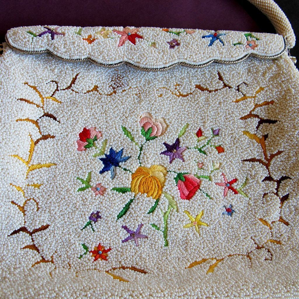 Hong Kong White Glass Bead and Multicolor Embroidered Handbag / Purse from 2heartsjewelry-rl on Ruby Lane