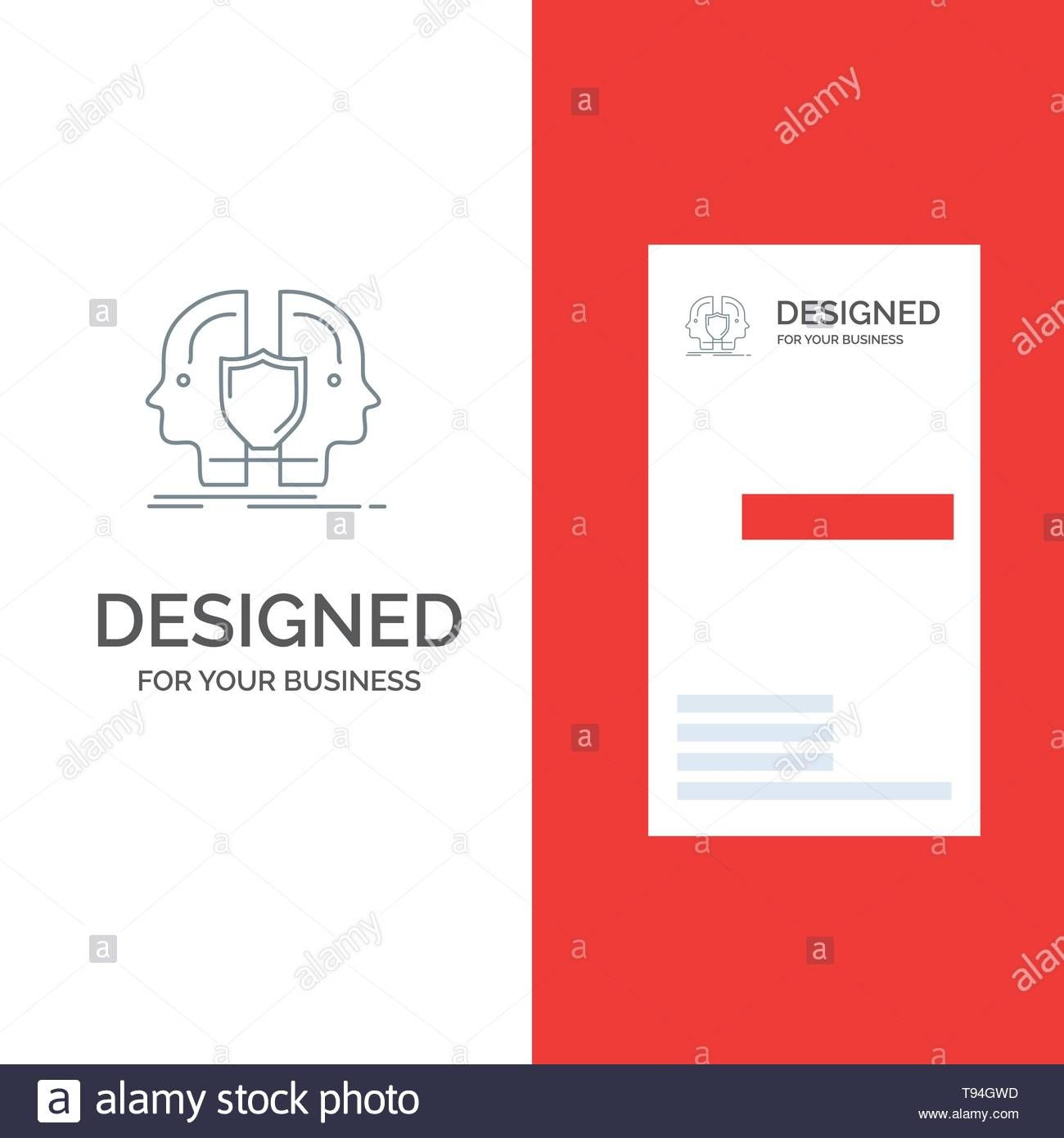 The Interesting Man Face Dual Identity Shield Grey Logo Design And With Shield Id Id Card Template Business Card Template Psd Free Business Card Templates