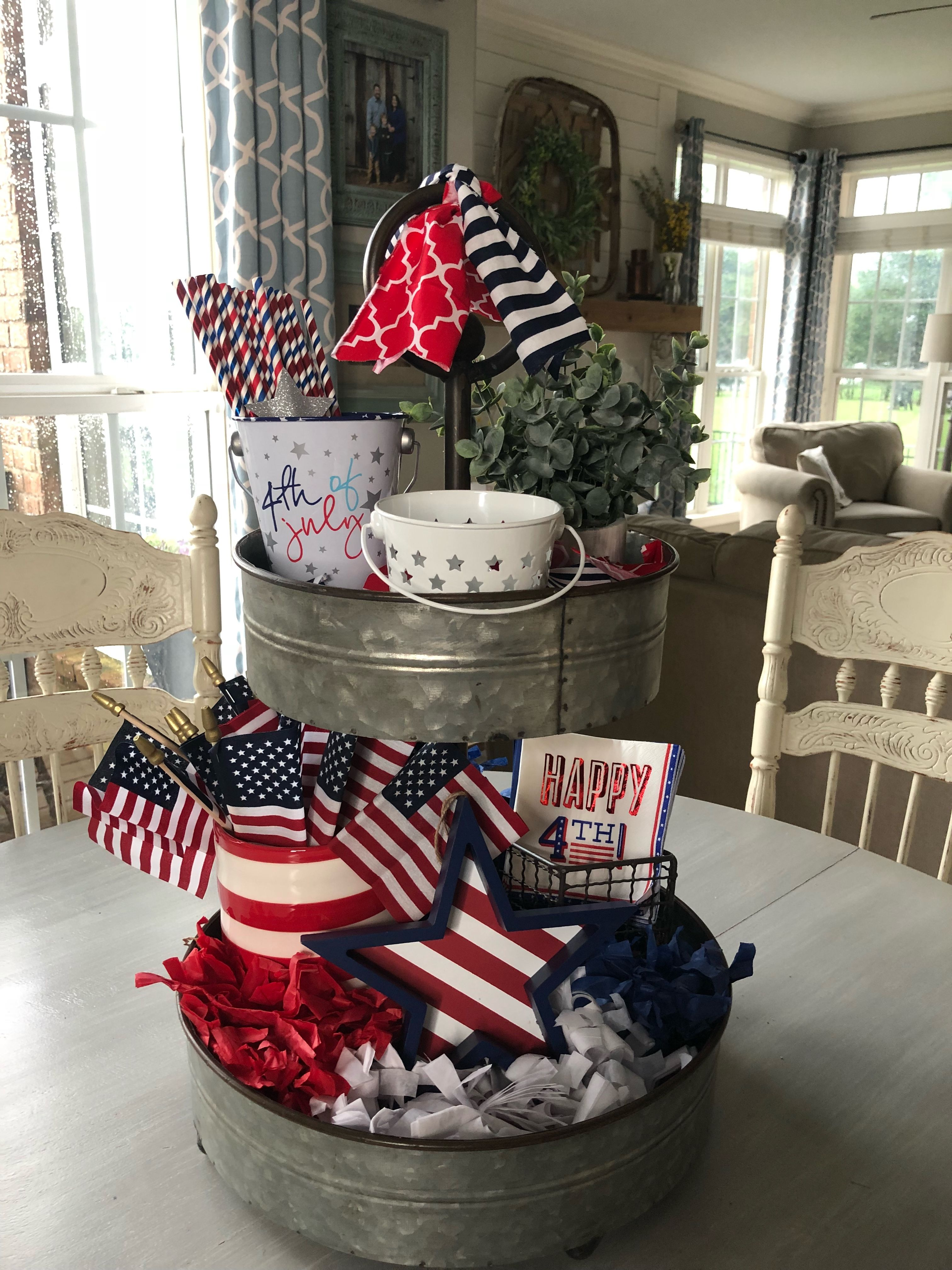 Target Dollar Spot Decor in my 4th of July Tiered Tray