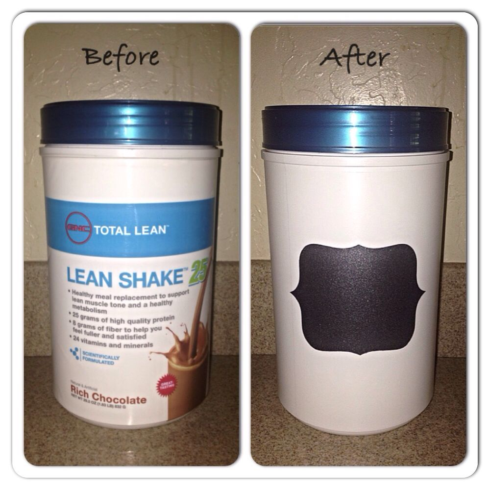 Repurpose a protein shake container to a countertoppantry storage