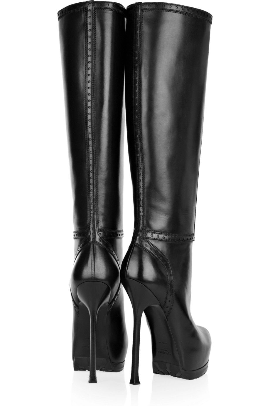 Yves Saint Laurent Platform Leather Knee-High Boots cheap sale best prices free shipping great deals with paypal cheap price discount authentic discount enjoy l81ka2ISN