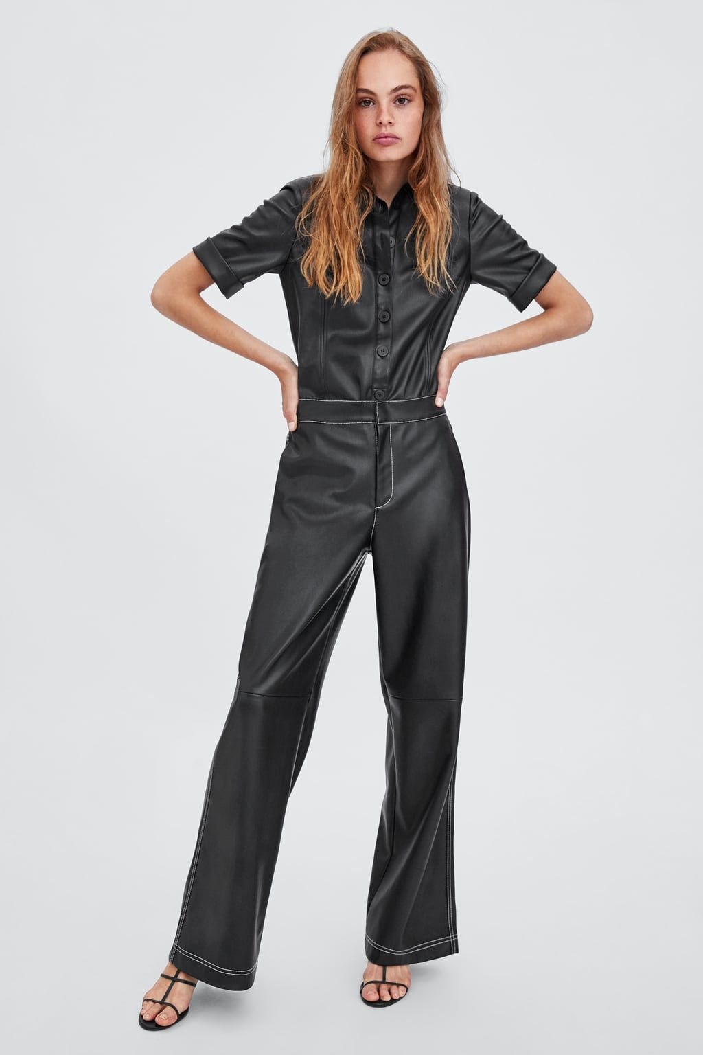 42b72f53 PANTALÓN EFECTO PIEL in 2019 | shopping | Leather trousers, Faux ...