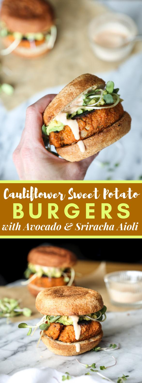 Photo of Cauliflower Sweet Potato Burgers with Avocado and Sriracha Aioli (Vegetarian Paleo) #veggies #recipes