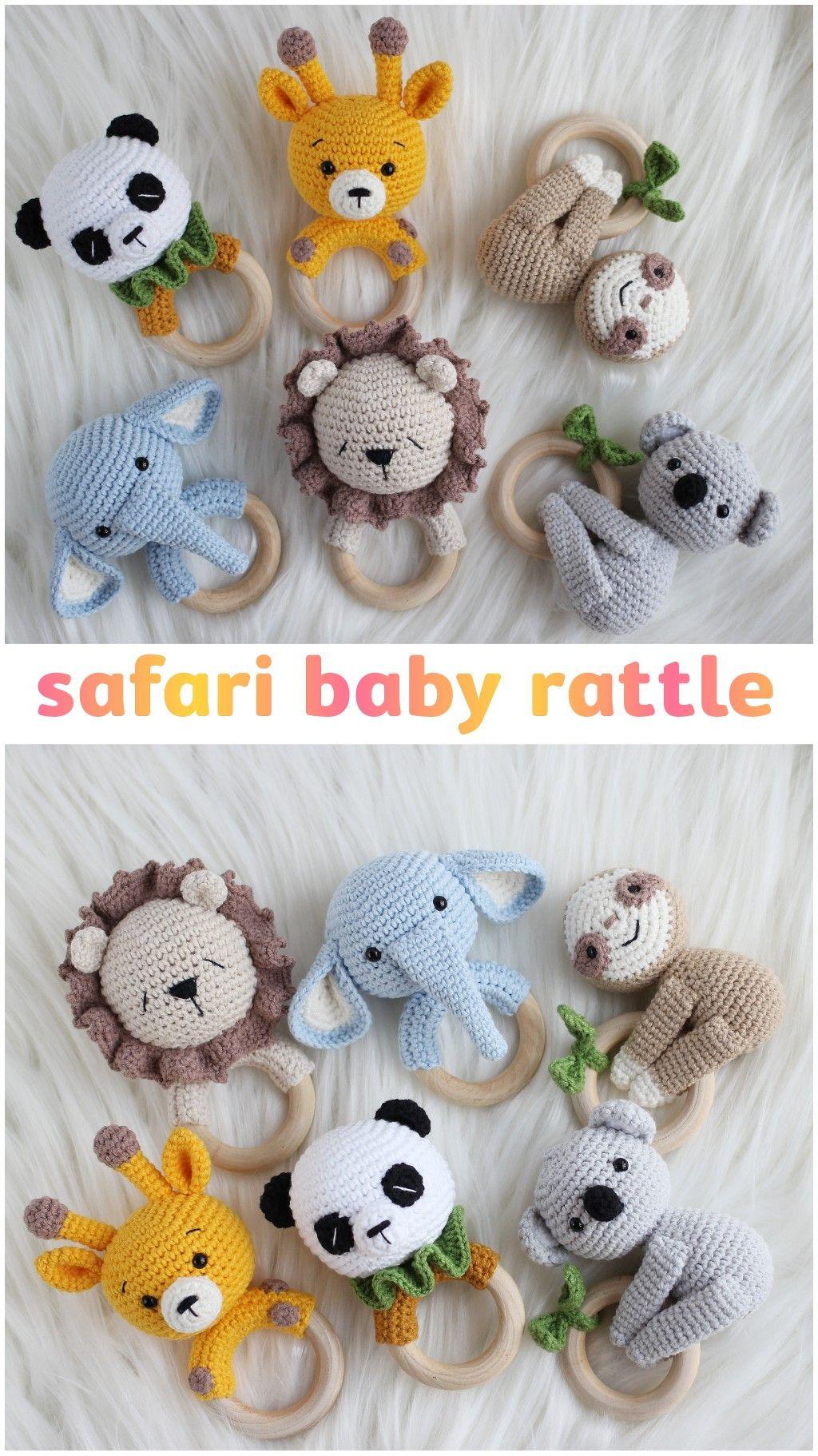 Safari animals baby rattle the best crochet toy gi