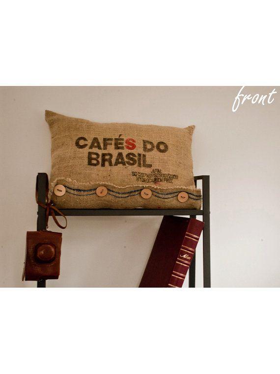 Pillow case - recycled juta fabric coffe bean sack burlap natural eco bag