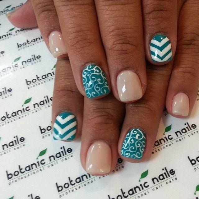 turquoise gel nails botanic