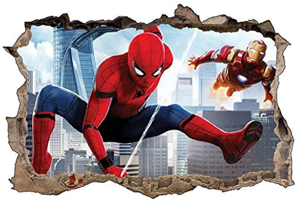 Stickers 3D Spiderman et Ironman R/éf 52464-90x60cm