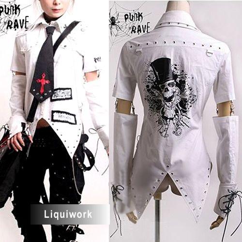 punk jeans 3piece white emo punk cyber goth clothes