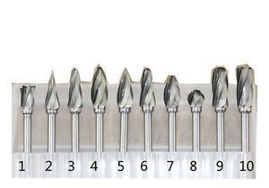 2.35mm Shank Tungsten Steel Carbide Rotary Files Grinding Head Burrs Bit Set 10x