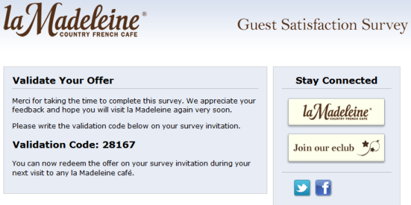 La Madeleine Cafe Guest Satisfaction Survey Surveys La Madeleine Customer Survey