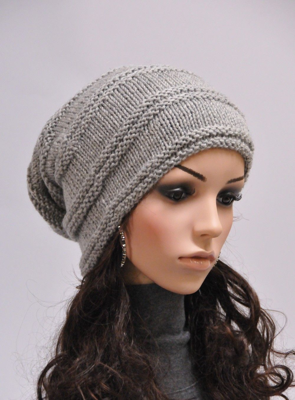 Hand knit wool hat woman winter hat slouchy grey hat - ready to ship ...