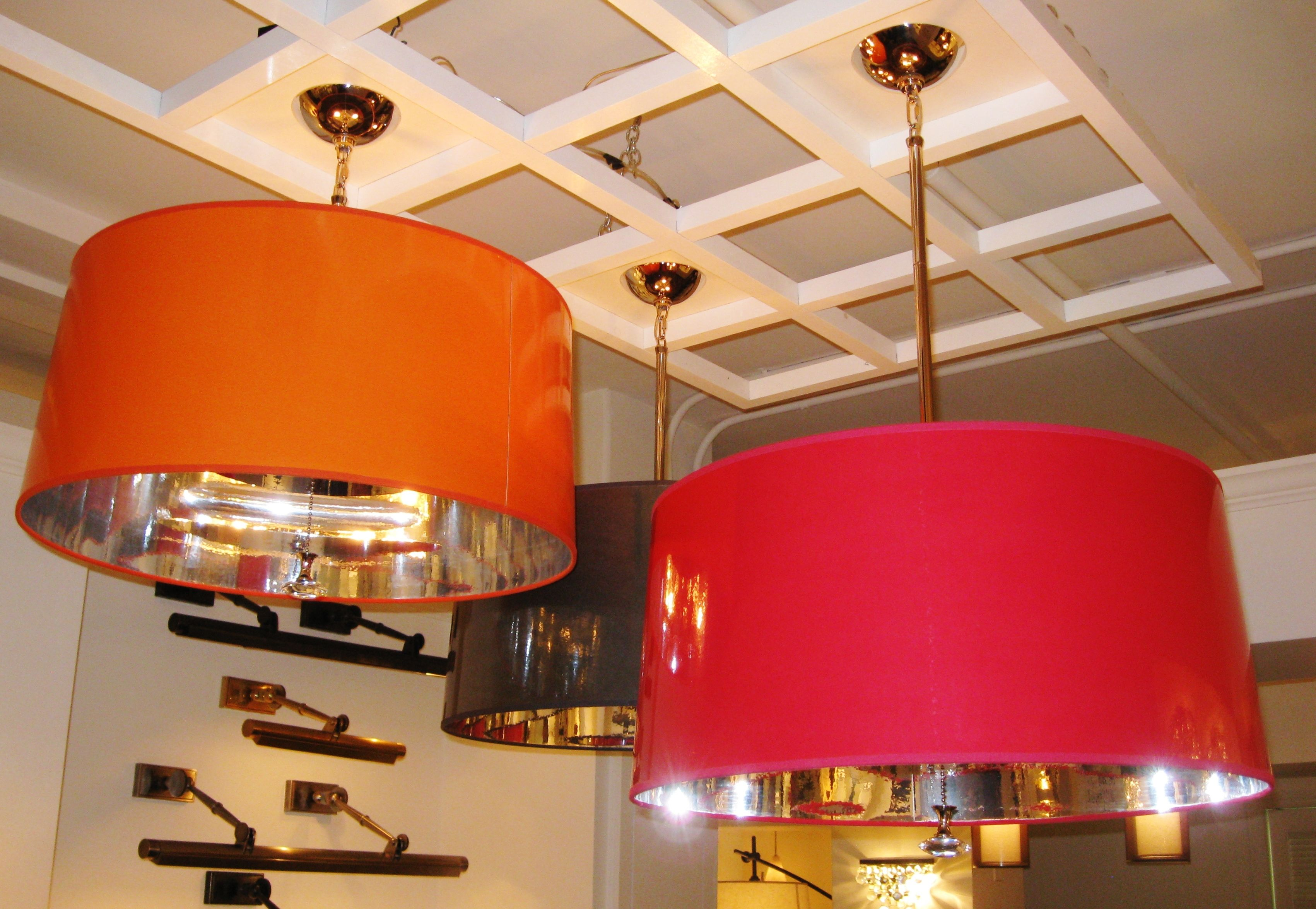 Robert abbey penelope pendant drum shade in orange fuschia black robert abbey penelope pendant drum shade in orange fuschia black navy and taupe red chandelierinterior arubaitofo Image collections