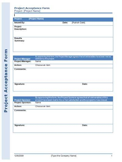 Project Acceptance Form For Managing Your Project Efficiently