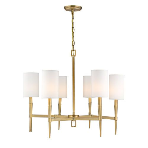 Casual Dining Room Lighting Fixtures: 251 First Selby Warm Brass Six Light Chandelier In 2019