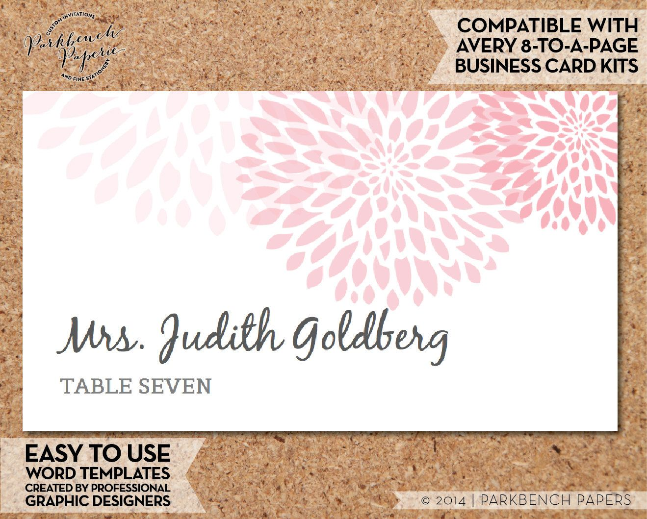 Place Card Template - Mums - BLUSH - DIY Editable Word Template ...