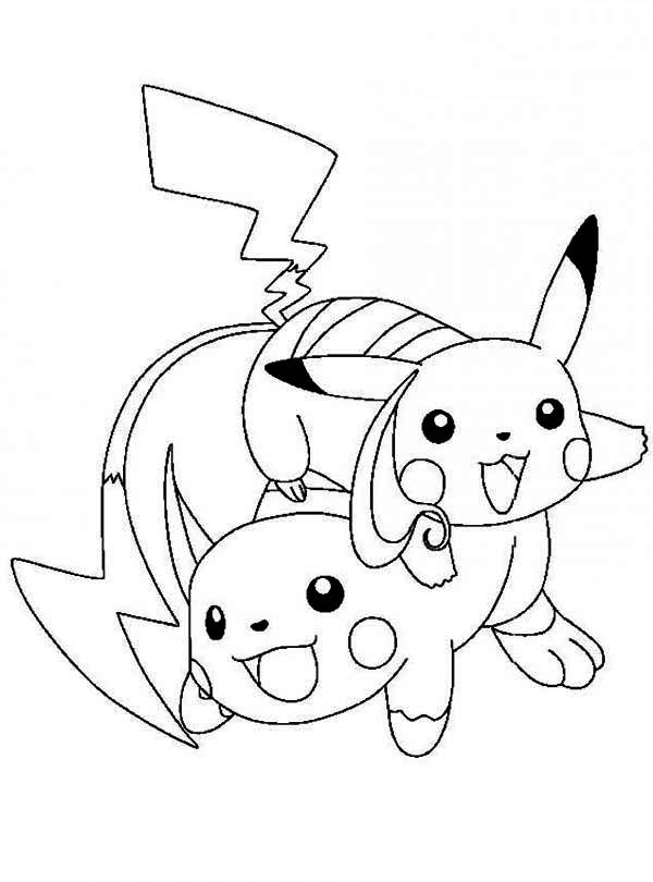 pikachu and raichu coloring pages by stacey