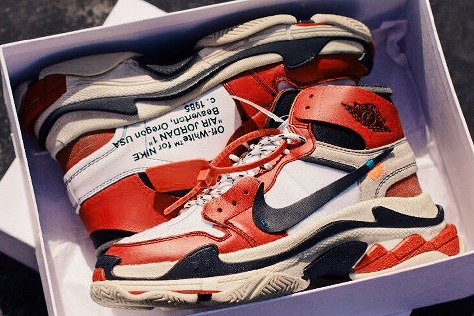 Off White Nike Air Jordan 1 X Balenciaga Triple S Custom Sneakers Men Fashion White Nikes Sneakers Fashion