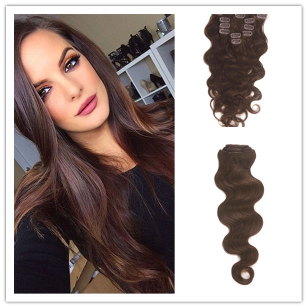 Medium Brown 100 Body Wave Real Remy Clip In Human Hair Extensions