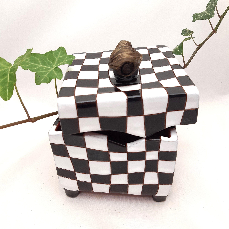 Ceramic box with lid handmade glazed ceramic box