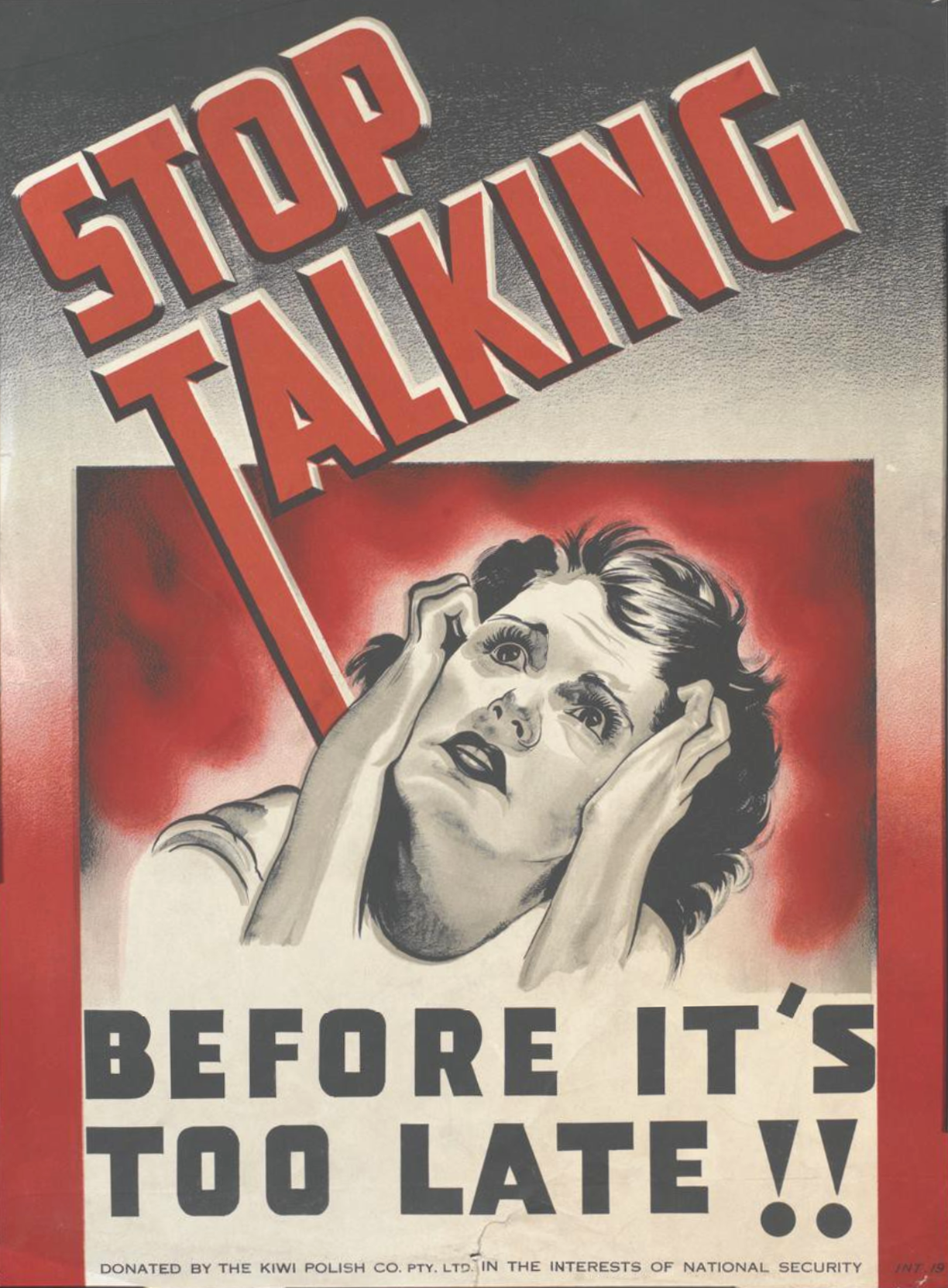 """""""Stop Talking Before It's Too Late!!"""" British WWII Poster"""