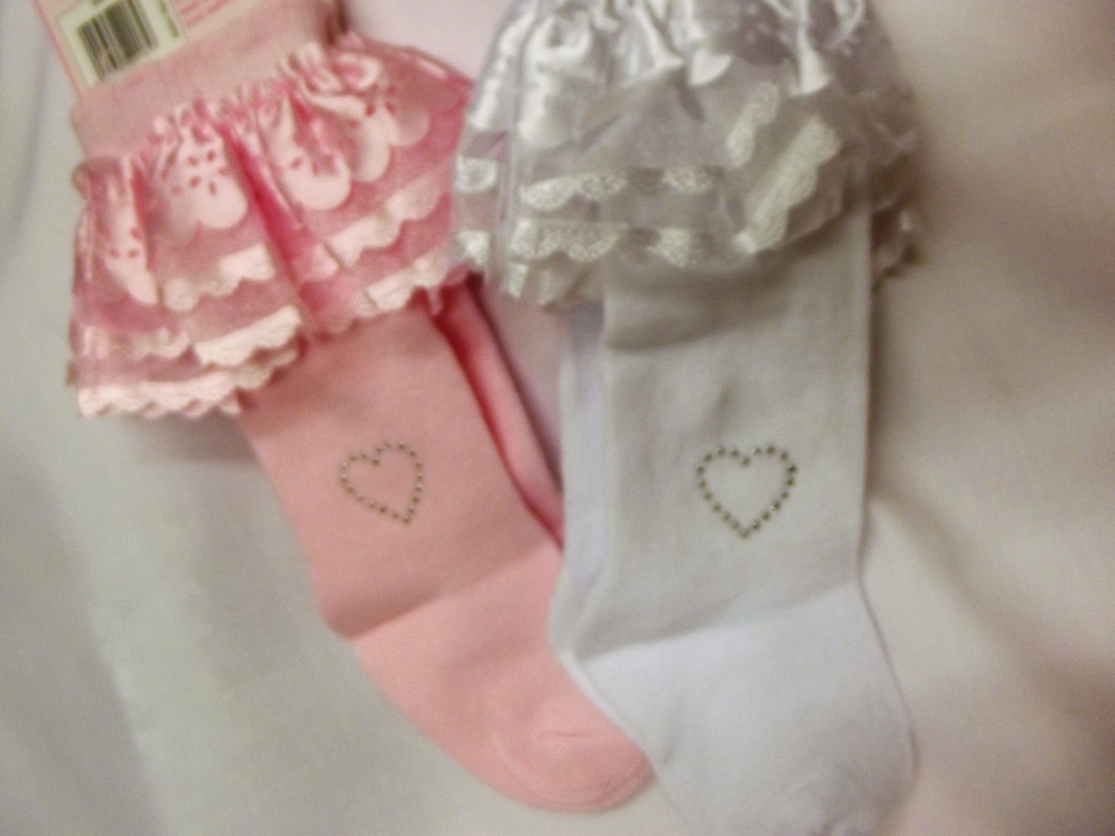Dream Baby Girls 2 Pack Lace & Bling Heart Pink White Knee High