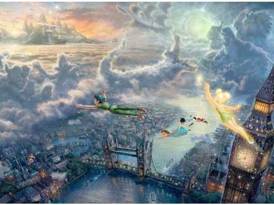 Thomas Kinkade spent over 300 hours on this painting. Snow White & Pinocchio can be seen at the base of the London Bridge. Look carefully at the cloud formations & you will clearly see Captain Hook, his first mate Smee, the crocodile the Indian Chief, the pirate ship, & the lost boys. In the city you'll find a balloon vendor selling balloons in the shape of Mickey Mouse ears.