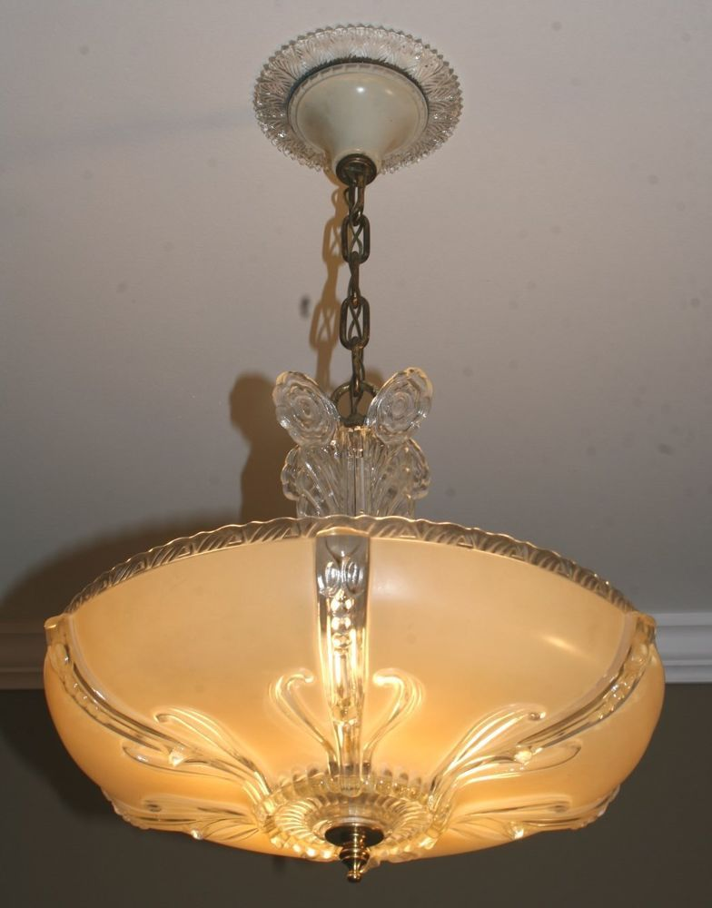 1940s antique original beige glass art deco light fixture ceiling chandelier artdeco
