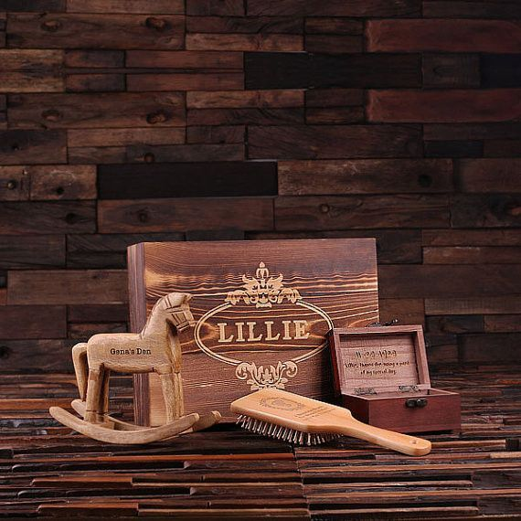 Unique 4 pc gift set for her, each piece personalized anyway you want. Comes with keepsake wood box. Rocking Horse Size: 7.5″ x 2.5″ x 7″, Natural Wood — Paddle Brush Size: 9″ x 3″, Natural Wood — Tre