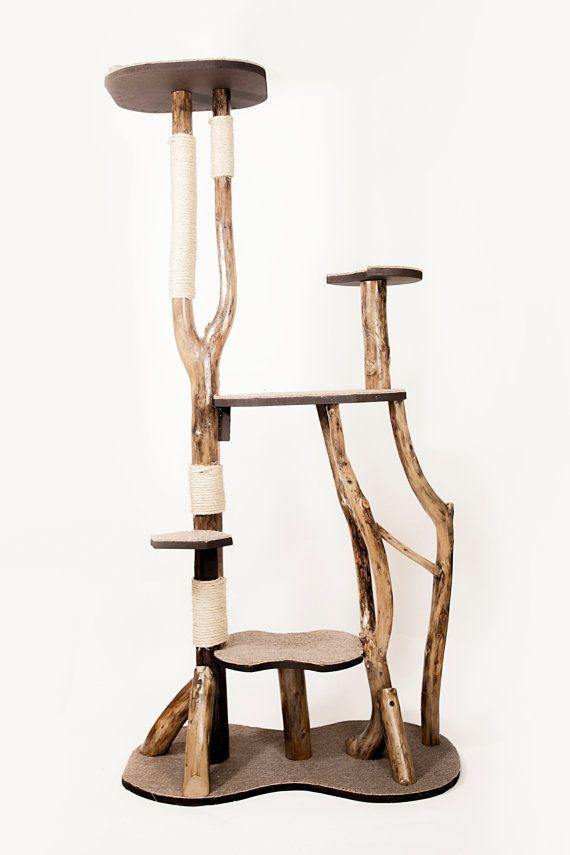 Sale Cat Tree Unique Design Natural Wood Von Yewniquecreations Animal Room Kratzbaum Katzenmöbel
