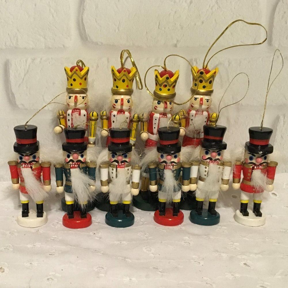 Set of 10 Vintage Wooden Soldier Nutcracker Christmas Ornaments ...