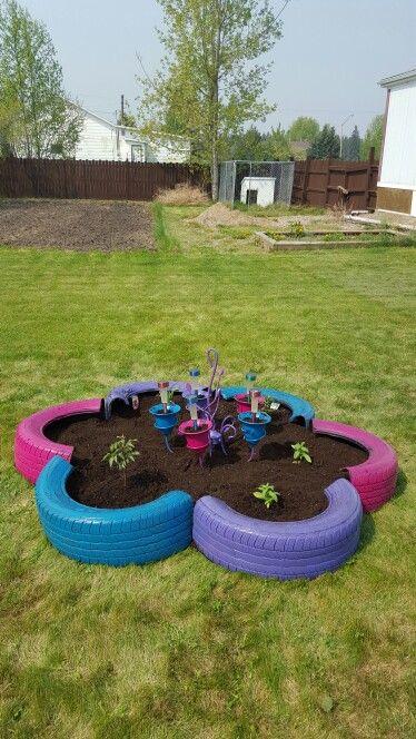 Tire Flower Shaped Planter Back Garden Landscaping Tire Garden Diy Garden Projects