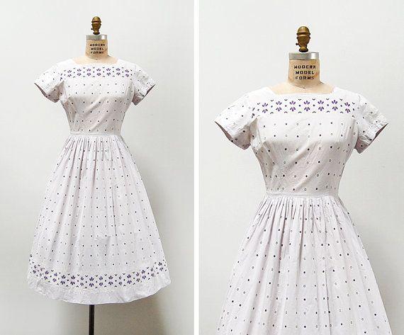 vintage 1950s dress / 1950s cotton dress / 50s lilac by cutxpaste