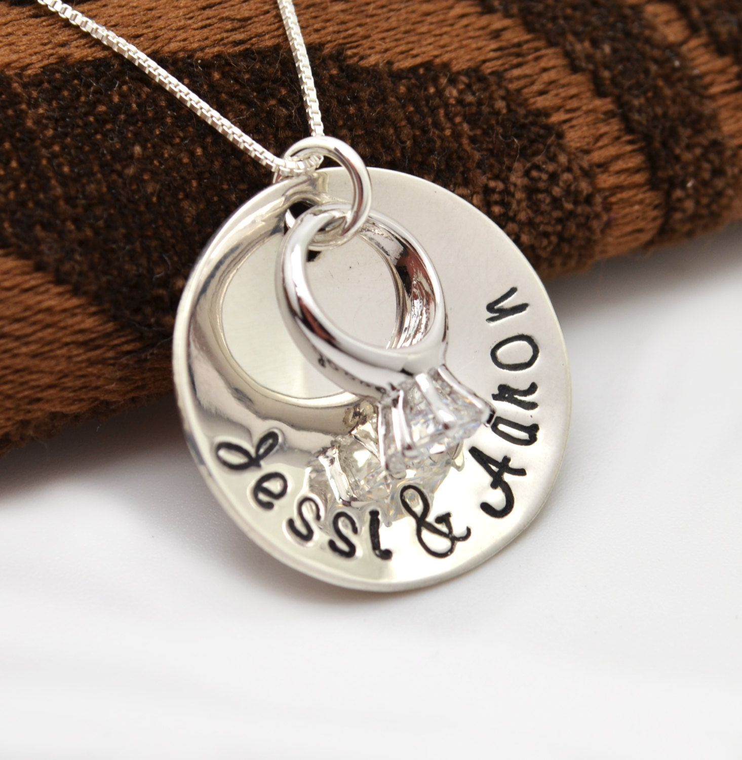 Keepsake Wedding Gifts: Personalized Sterling Silver Engagement Ring Necklace