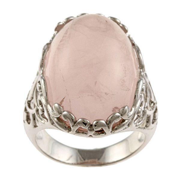 La Preciosa Silvertone Created Rose Quartz Ring found on Polyvore