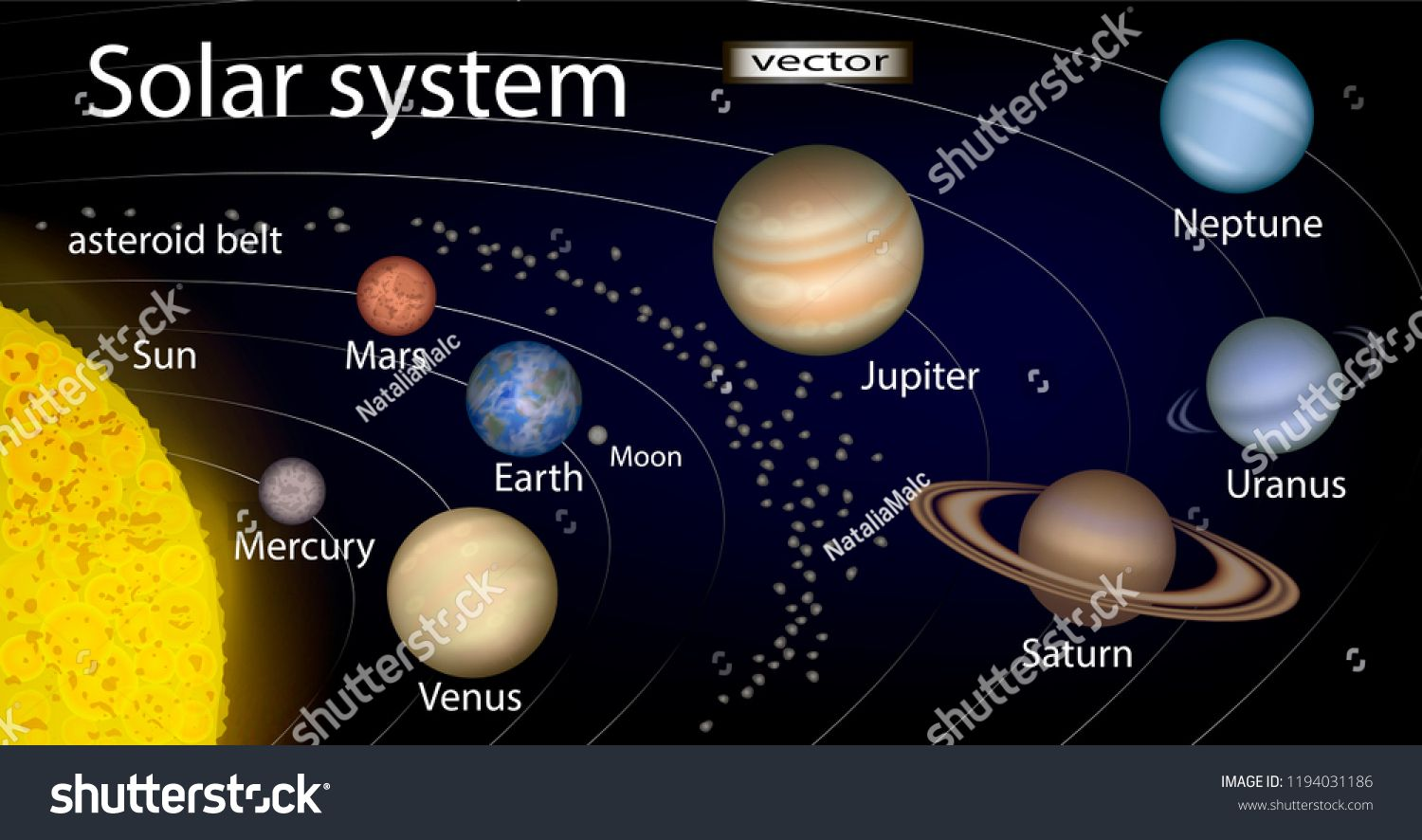 Vector Illustration Of Diagram Of Solar System 3d Realistic Image With The Planets The Sun The Moon The Asteroid B Asteroid Belt Solar System Planets Images