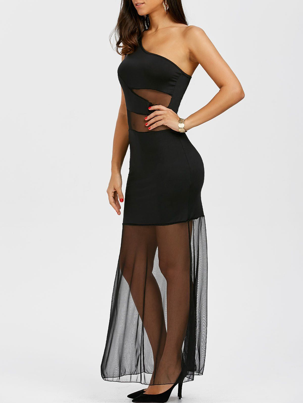 One shoulder mesh insert maxi cocktail prom dress in black