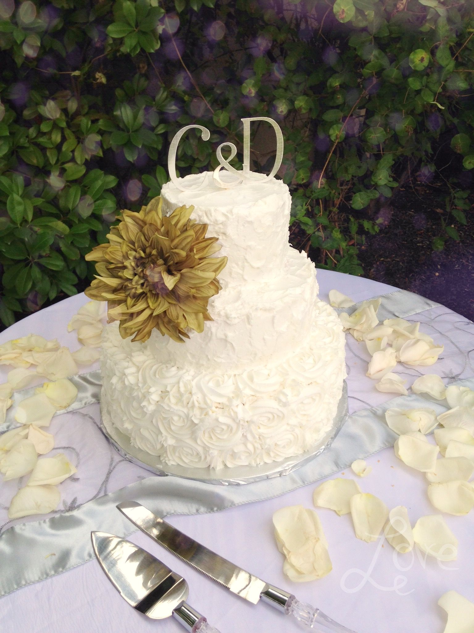 3 tier wedding cake with rosettes and rough frosting | My cakes ...