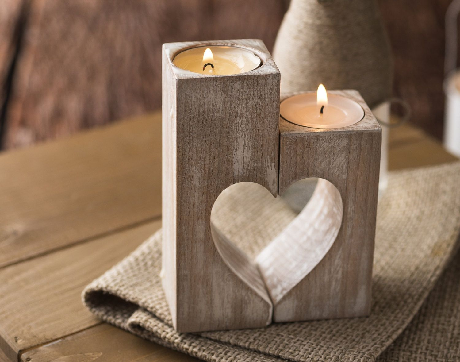 Wooden candle holders Rustic heart candle von FranJohnsonHouse