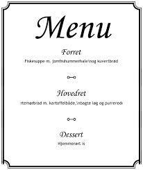 menukort til konfirmation