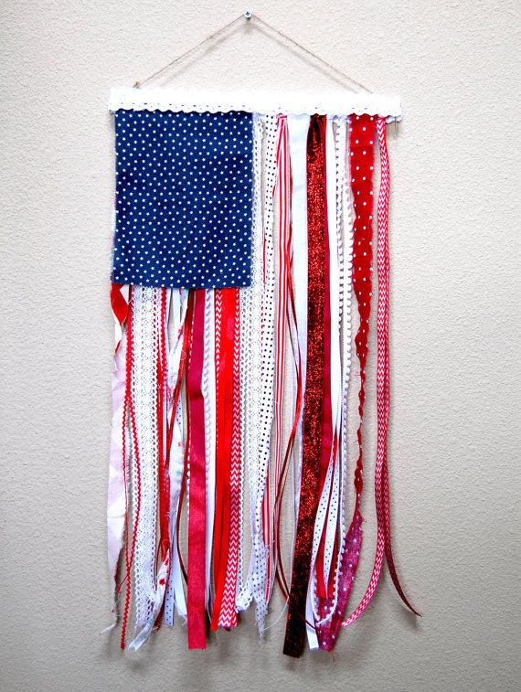Hanging Flag On Wall ribbon and rag u.s. flag rustic wall hanging 4th of july