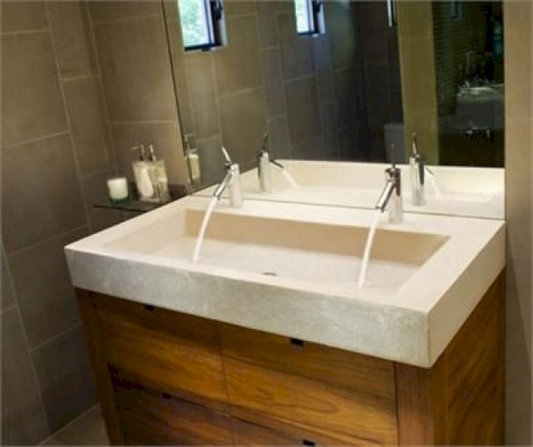 Small Bathroom Flat Sink Ideas 20 Trough Sink Bathroom Large Bathroom Sink Concrete Vanity [ 907 x 1080 Pixel ]