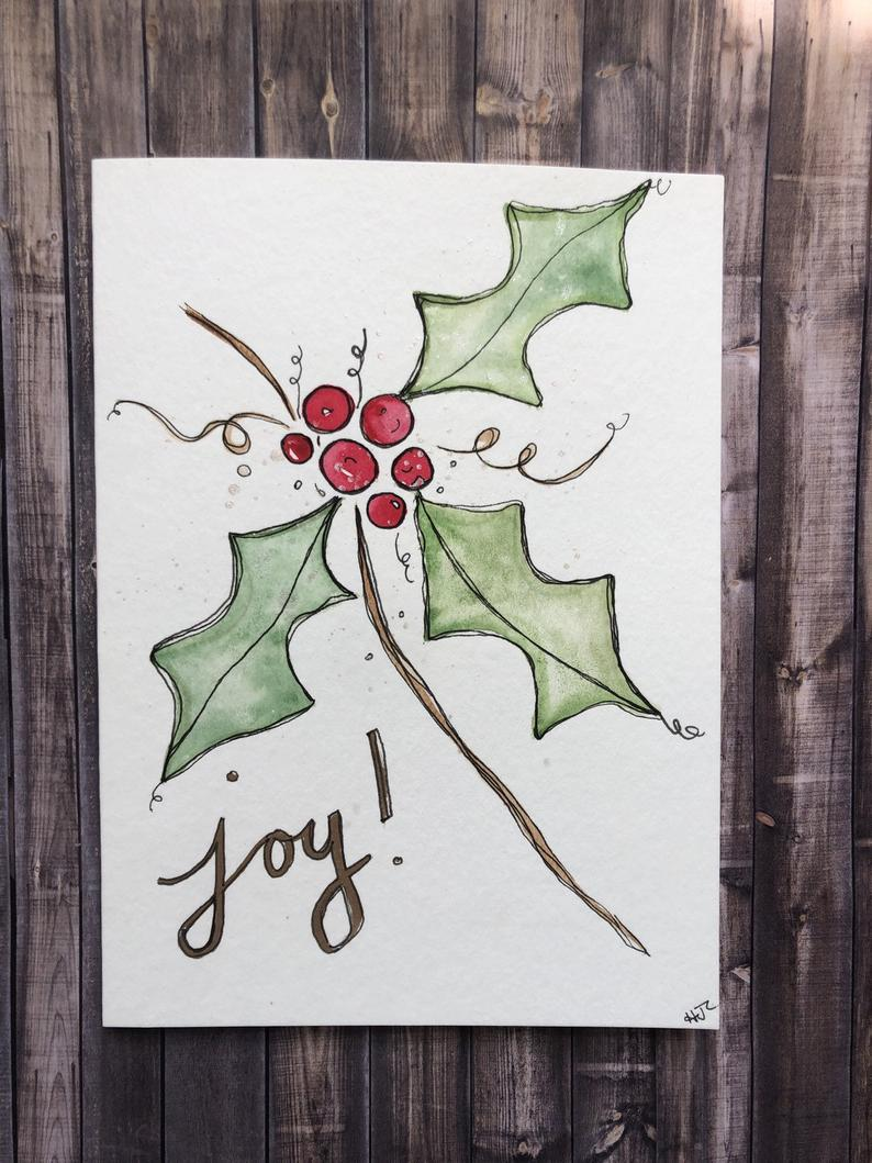 Watercolor Holly Christmas Card Hand Painted Christmas Card