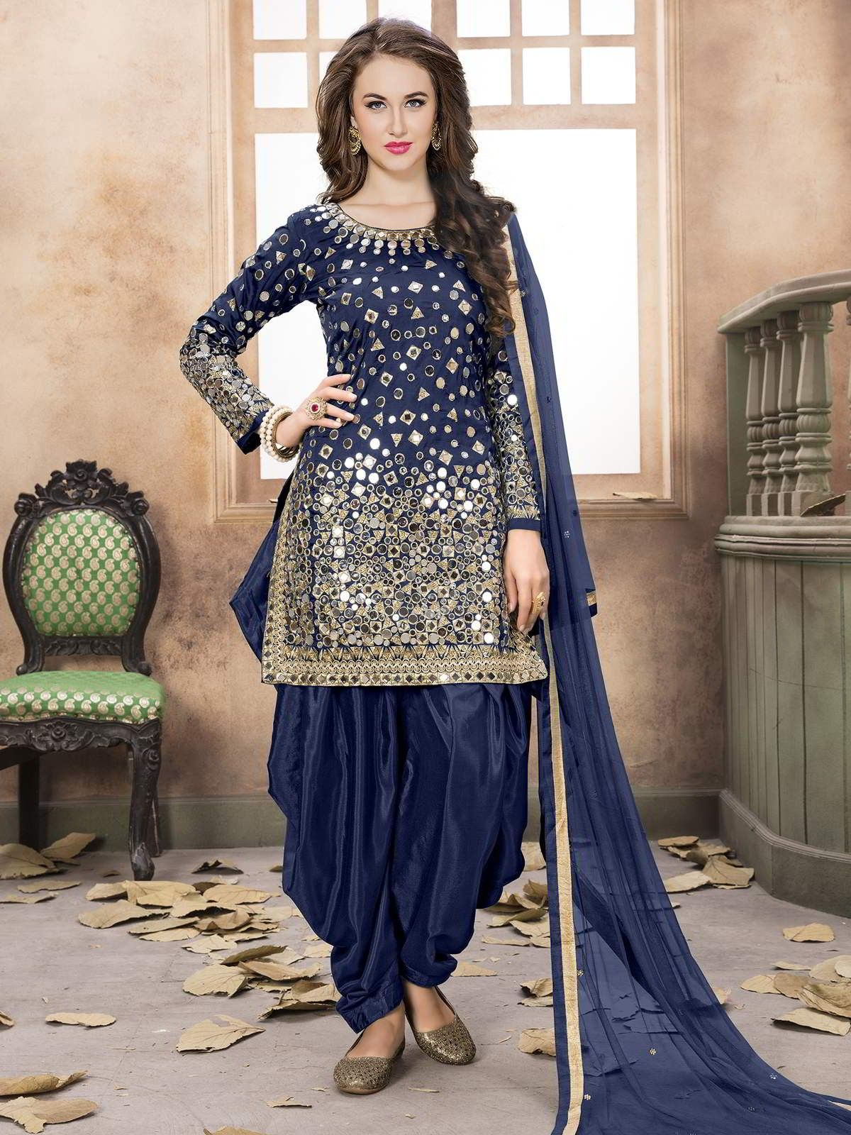 544f616d5f Pretty Blue Partywear Straight Cut Suit | kurti with Dhoti & patiala ...