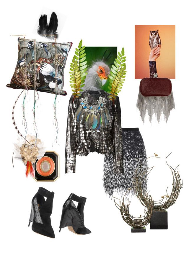 """""""Birdie"""" by palmgrass99 ❤ liked on Polyvore featuring mode, Matthew Williamson, House of Harlow 1960, Emily Humphrey, Edun, Chloé, Isabel Marant, Global Views, Philip Treacy et Anabela Chan"""