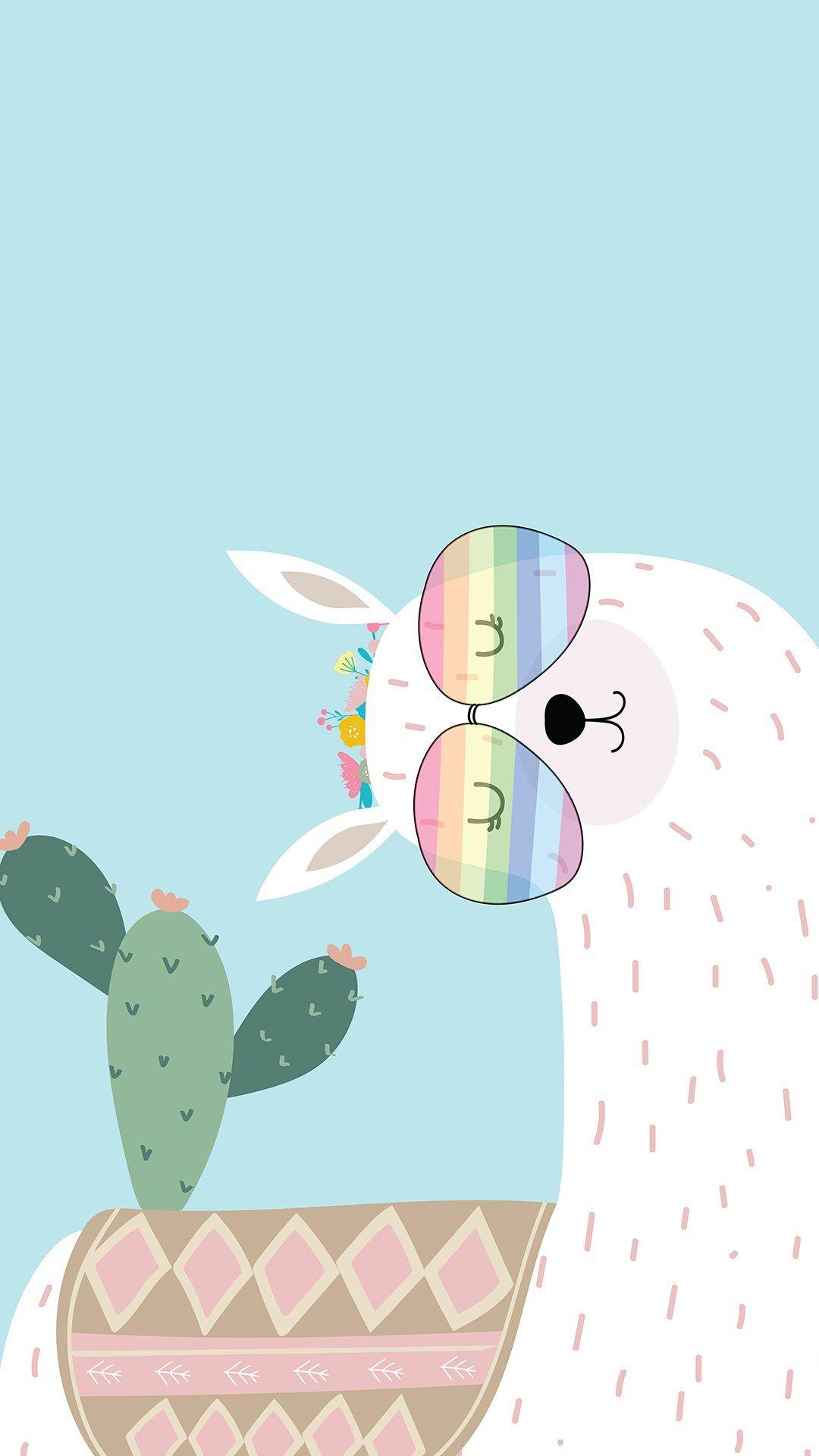 Llama Cactus Wallpaper Iphone Cute Cartoon Wallpaper Cute Wallpapers
